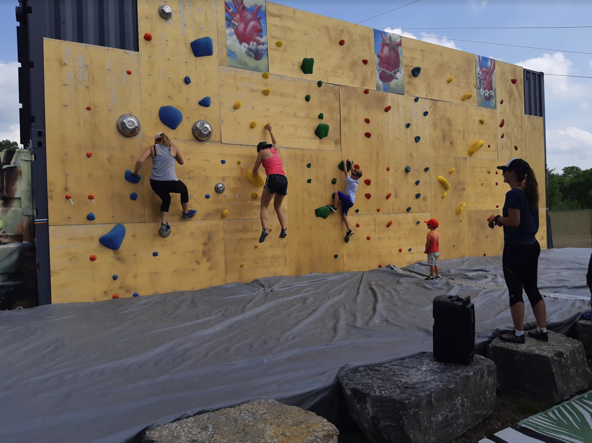 a rock climbing wall